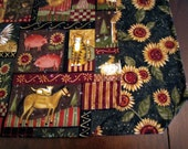 Reversible Quilted Cotton Table Runner - Kansas Song Country Folk Art Sunflower - animals/farmhouse style/olive green/folk art