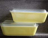 Vintage Yellow Cottage Chic Pyrex Refrigerator Dish and Ovenware