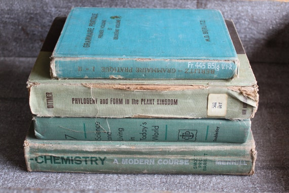 Shabby Chic Green Teal Vintage Book Bundle Instant Collection