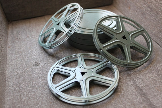 Vintage Mint Green Metal Film Reels and Canister Industrial Decor