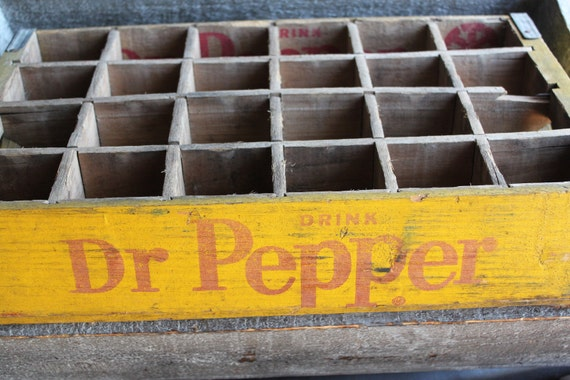 Vintage Red and Yellow Wooden Dr.Pepper Crate