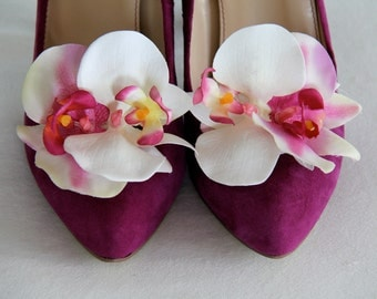 Blooming Orchid Shoe Clips Pink White Accessories Bride Bridesmaids Wedding Accessory Tropical Hawaii Beach Ceremony Rockabilly