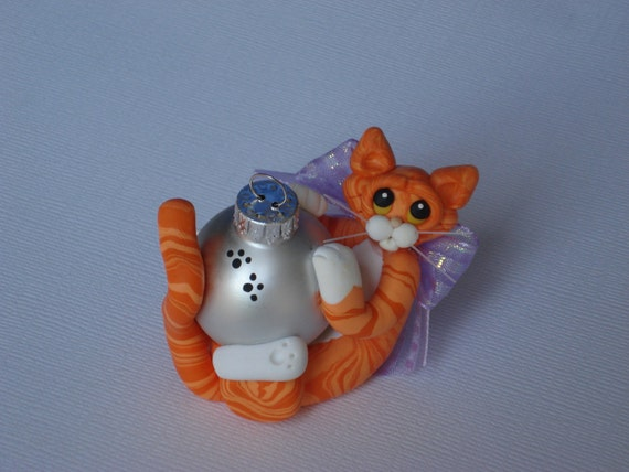 Polymer clay Orange Tabby cat Christmas ornament personalized figurine