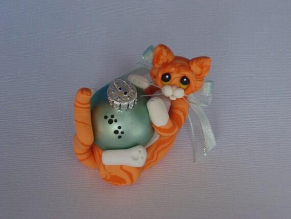 Polymer clay Orange Tabby cat Christmas ornament personalized figurine