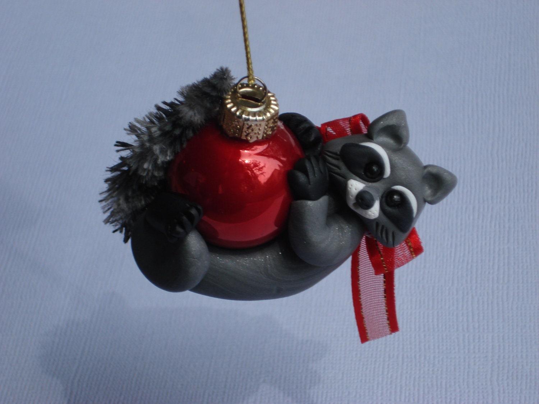 Polymer clay raccoon christmas ornament figurine sculpture