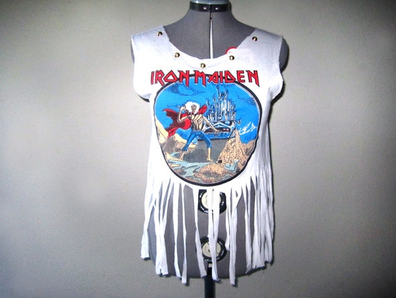 Iron Maiden Reconstructed White Fringe Tee