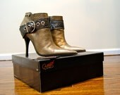 Vintage Bronze Gold High Heel Stiletto Buckle Bootie by Carlos Santana for Women