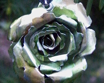 Upcycled Jewelry, Recycled Soda Can Rose Pendant-11