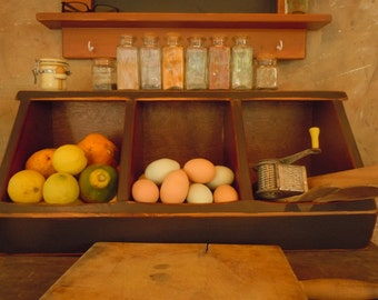 Storage- Kitchen Storage Boxes Primitive Rustic Country Chic 3 Bin/Black- MADE to ORDER