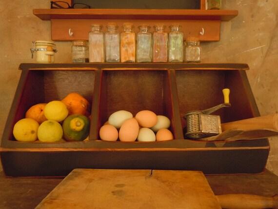 Storage- Travis 3 bin Kitchen Storage Boxes Primitive Rustic Country Chic Black- MADE TO ORDER