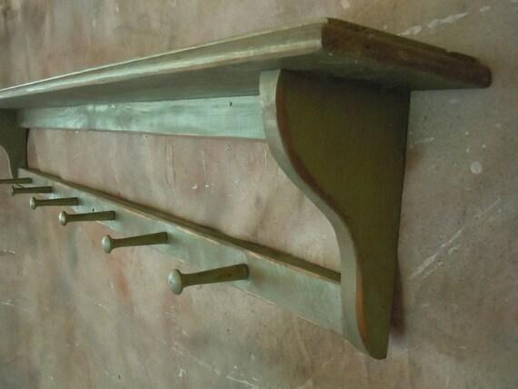 Coat Rack Shelf-Rustic Green and Bronze