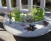 Miniature Beach Vacation for Two with a Campfire and Sand Bucket by Landscapes In Miniature - No Sand/Glass Bowl