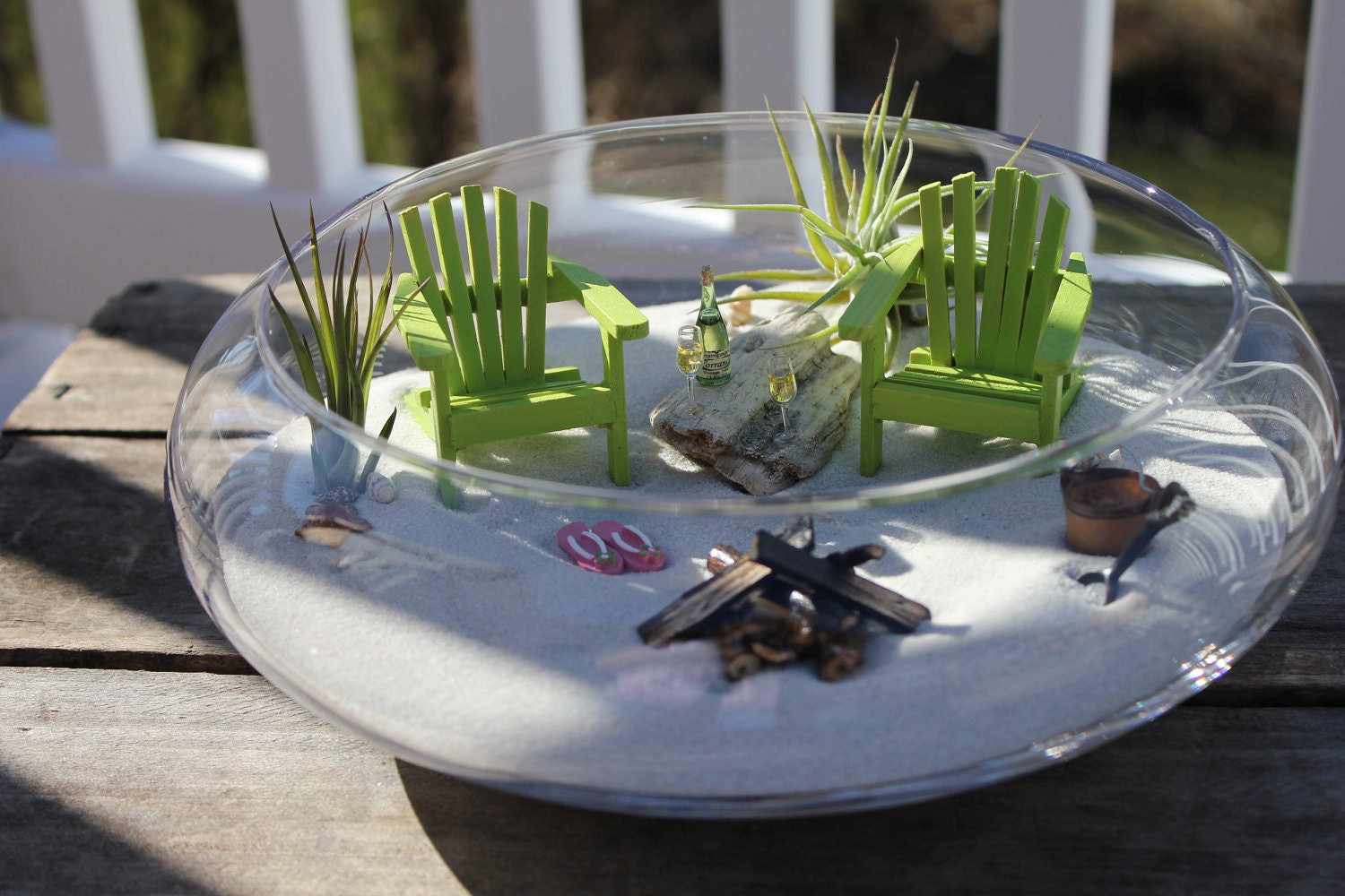 Gnome Garden: MINIATURE BEACH VACATION For Two With A Campfire And Sand