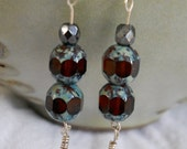 Stacked Czech glass brown/turquoise dangle with clear blue dagger beads