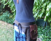 Large Brown and Black Leather Utility Belt
