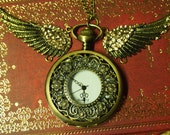 Golden Flower Face Pocket Watch Necklace with Angle Wings
