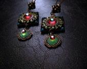 Old World Mosaic Earrings - Micro Mosaic Beaded Earrings - Artistic Jewelry - Gypsy Wedding - Bohemian Bride - Swarovski Crystal Jewelry