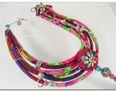 """Pink and green necklace, gypsy necklace, multi strand necklace,Necklace """"Zoé""""- Collier Zoé-Ligne Acidulée"""