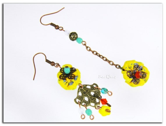 "Asymmetric Earrings ""Rio""- Boucles d'oreille Rio-Ligne Acidulée"