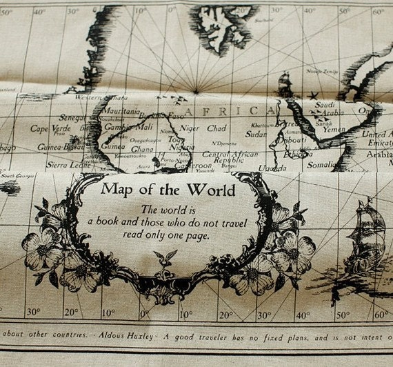 Vintage World Map Fabric Craft Panel By Budgetonaheartstring