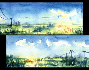 """Original Watercolor Diptych Painting """"Spring fields"""" Aquarelle Watercolour"""