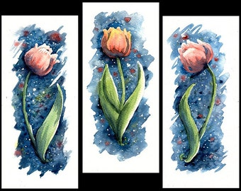 """Original Watercolor Paintings """"Red Tulips"""" One-of-a-kind Watercolour Triptych Aquarelle"""