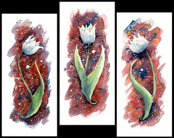 "Original Watercolor Paintings ""White Tulips"" One-of-a-kind Watercolour Triptych Aquarelle"