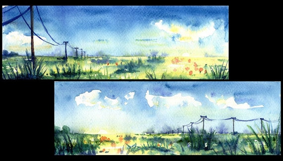 "Original Watercolor Diptych Painting ""Spring fields"" Aquarelle Watercolour"