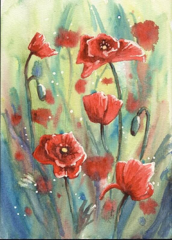 Poppies - Original Watercolor