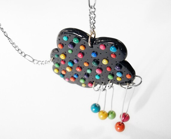 Happy Rain / Handmade polymer clay necklace