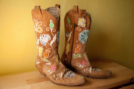 SALE 20% OFF 80s Original Roberto Cavalli texas boots cowboy boots size 37 cowgirl Southwestern style texas boots