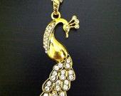 Golden Peacock Pendant Necklace