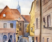 Morning in old town Original Watercolor Painting