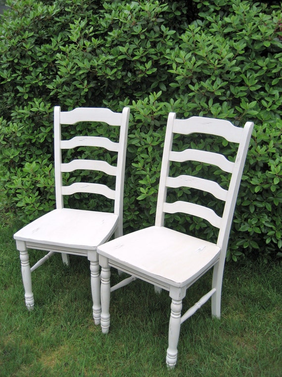 Pair of French Country Ladderback Dining Chairs