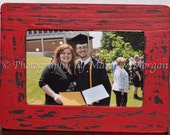 Red and Black Painted Distressed 4x6 Picture Frame