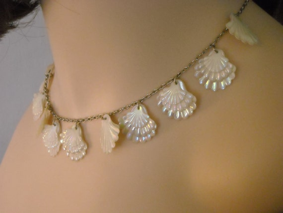 RESERVED for M. 50s 60s Holiday White Seashells Necklace Earrings Clip On
