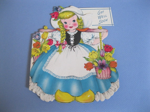 Rare 1949 Greetings Inc DUTCH GIRL 2-Sided Greeting Card--Unused and Gorgeous