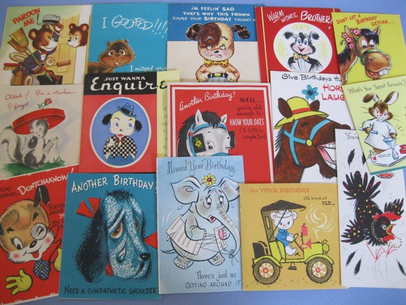 Lot of 15 CUTE ANIMAL Birthday Greeting Cards 1940s/50s--Used but Great Graphics for Crafters / Scrapbooking