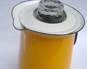 Vintage Enamel Coffee Pot, Retro Yellow Coffee Percolator