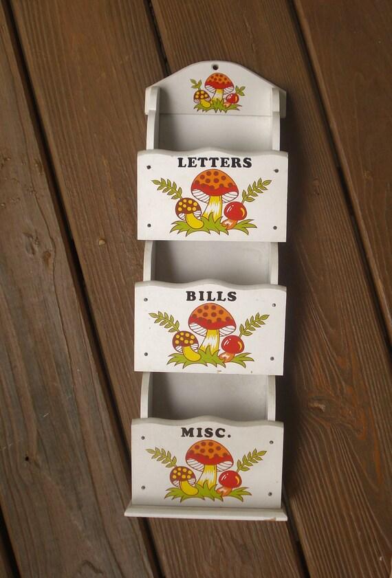 Mushroom Mail Organizer - Retro Mushroom Paper Sorter