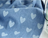 Wide Denim Fabric with Heart 1 Yard 13065-268