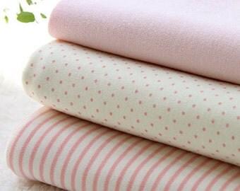 Organic Cotton Interlock Knit, Baby Pink Polka Dot or Stripes per Yard