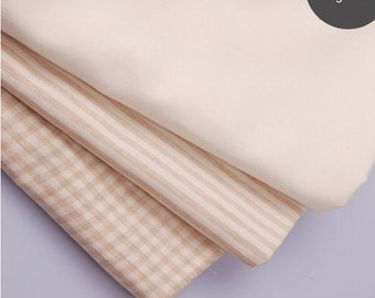 Organic Cotton Woven Fabric - Solid, Stripes or Plaid - By the Yard 32667