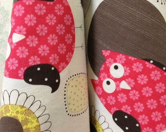 Soft Pre-washed Cotton Winking Owl in Red - Owl Fabric - By the Yard 18323-170