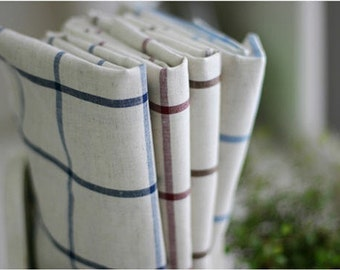 Cotton Linen Wide Plaid Fabric - Navy Plum Brown or Blue - Fabric By the Yard 10107