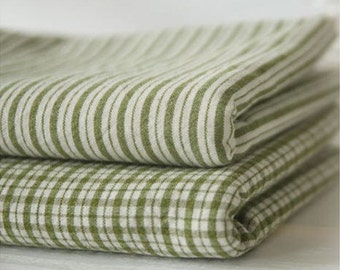 Pre-washed Cotton Yarn Dyed Plaid or Stripes in Olive Green per Yard 6148