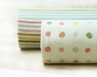Cotton Linen Pastel Polka Dots or Stripes per Yard 6857
