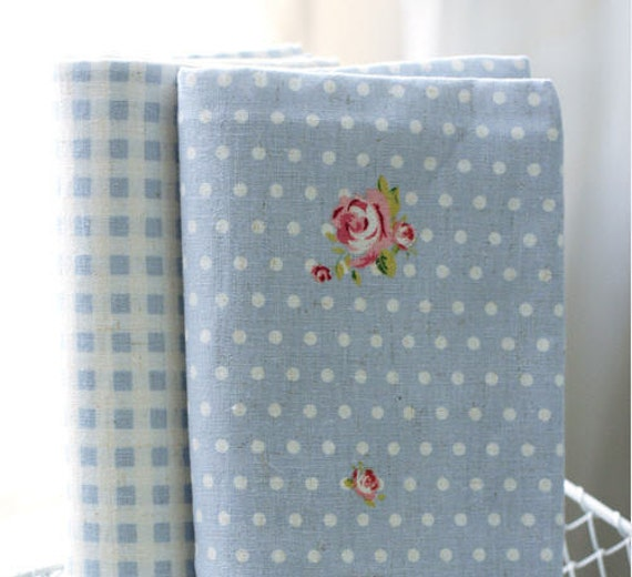 Cotton Linen Rosemary Shake - Blue Plaid or Polka Dots - By the Yard 39158