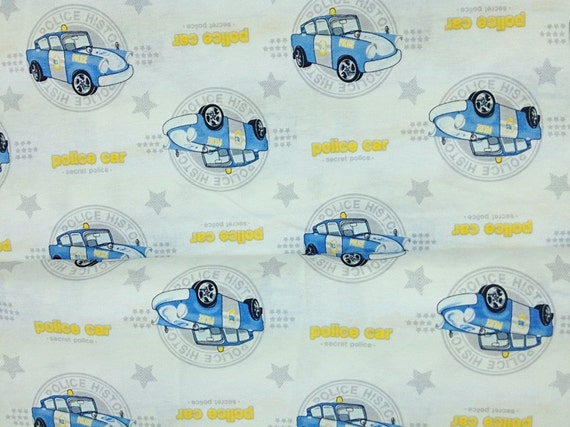 "Custom Listing - 1 Yard - 1 inch (59 x 35"") Cut - Boys Jersey Knit Police Car"