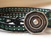 Malachite Leather Wrap Bracelet